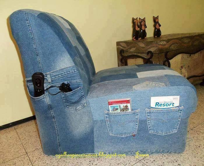 Unusual ways to repurpose old jeans recycled things for Creative reclaimed denim sofa covers
