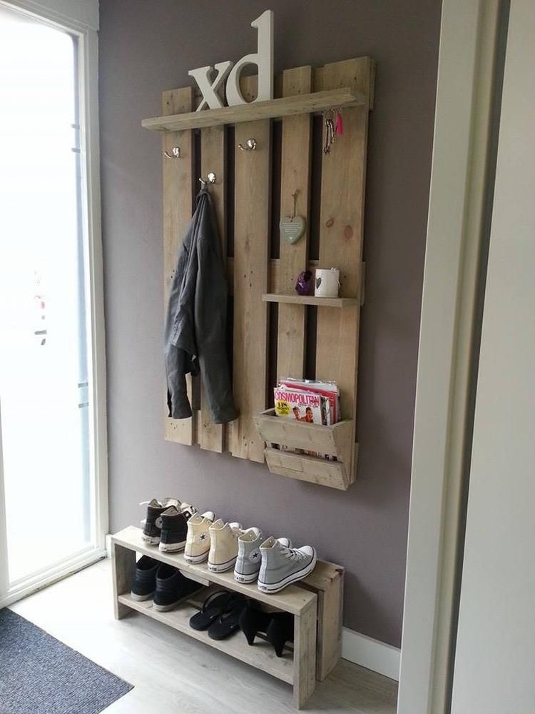 Pallet Wall Coat Rack with Shoe Rack