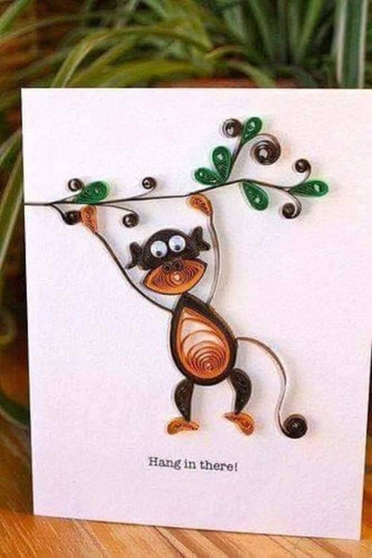 Paper Quilling Art Monkey