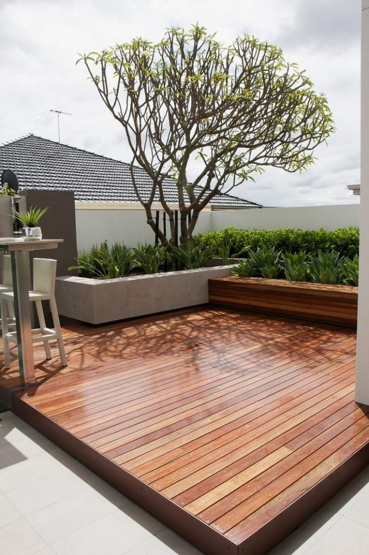 Patio Wooden Deck with Concrete Planter