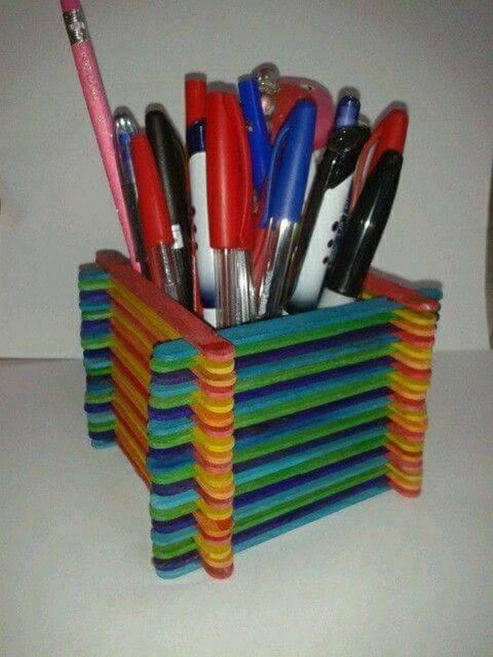 Popsicle Sticks Pencil Holder