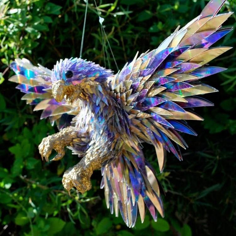 Recycled CDs Garden Bird Art