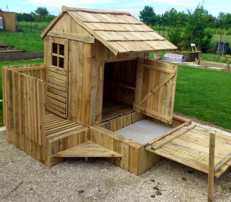 Wooden Pallet Playhouse with Attached Sandbox