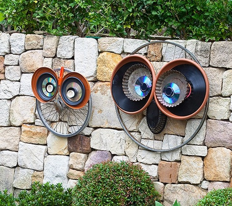 Bicycle Wheels Recycled Owls