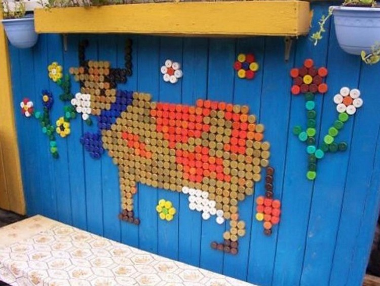 Bottle Cap Wall Art reused bottle cap crafts | recycled things