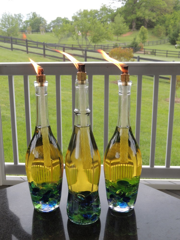 Glass Bottles Citronella Torch