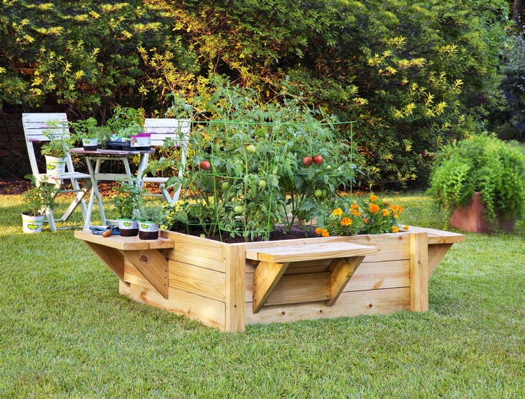 Pallet Raised Garden with Benches