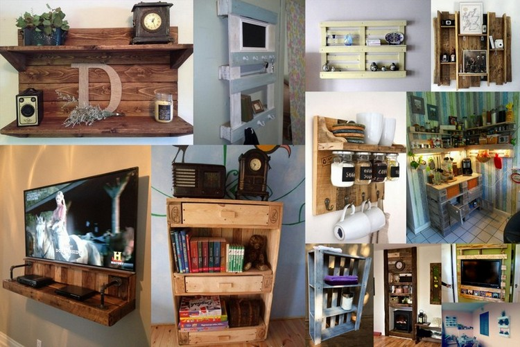 Attractive Wooden Pallet Shelves