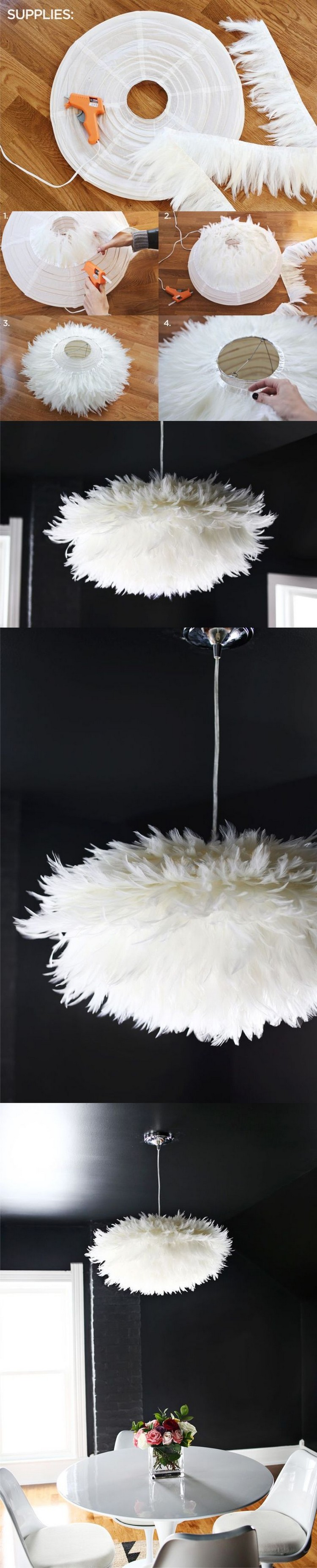 DIY White Feather Chandelier