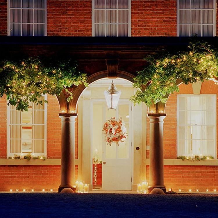 Front Door Garden Trees with Lights