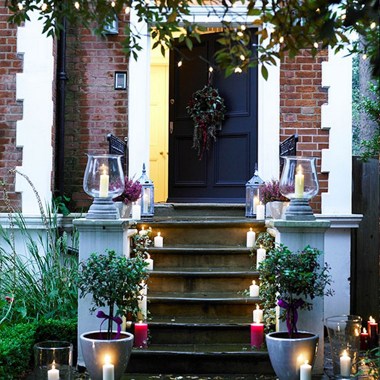 Front Door Steps with Lighted Candles