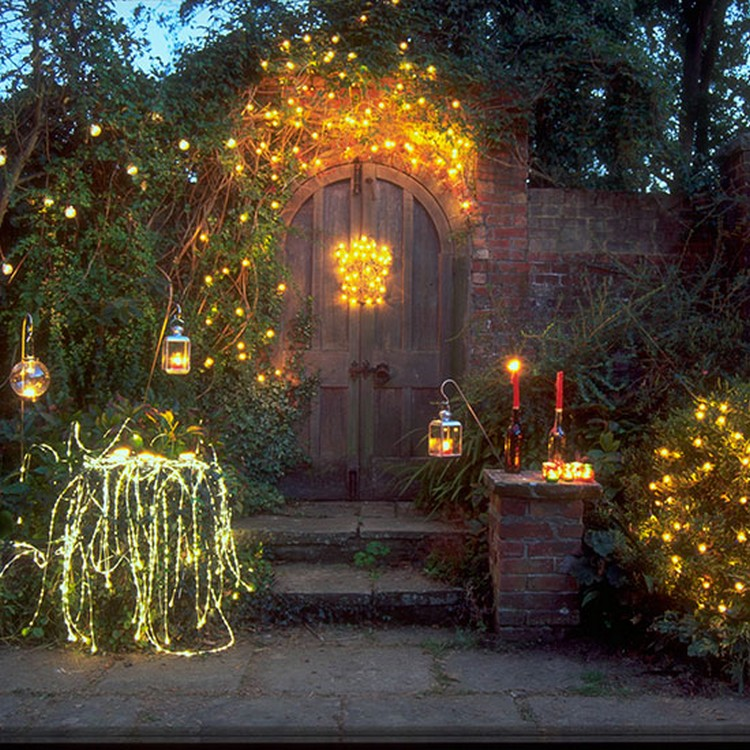 Garden Bushes Decorated with Fairy Lights for Christmas
