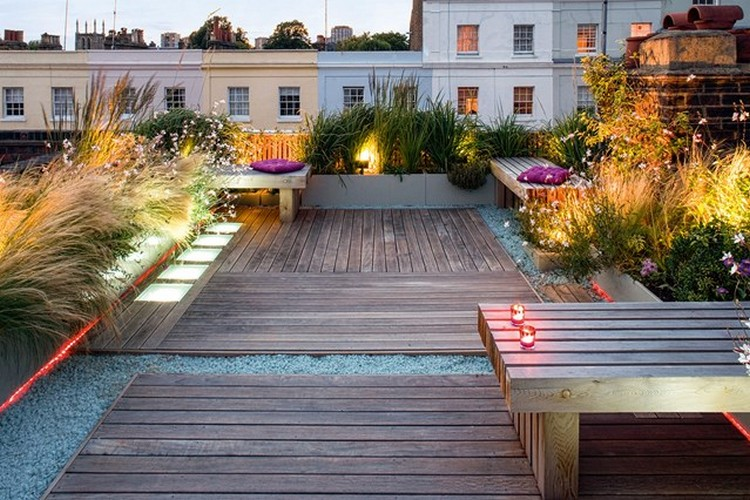 Rooftop Garden with Colorful Chairs