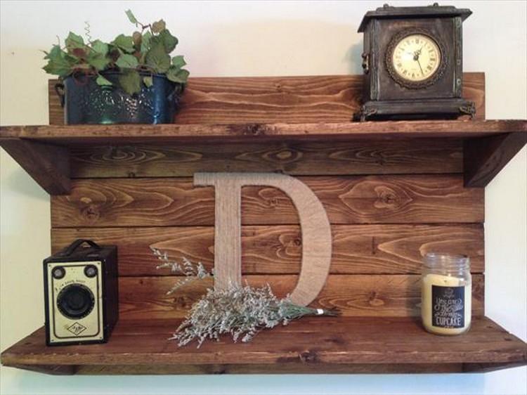 Wooden Pallet Wall Shelf
