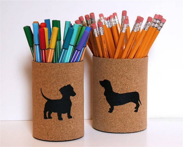 Cork Covered Pencil Cups