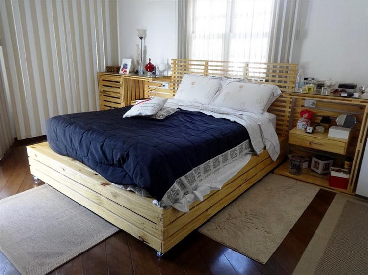 Homemade Pallet Rolling Bed with 2 Nightstands