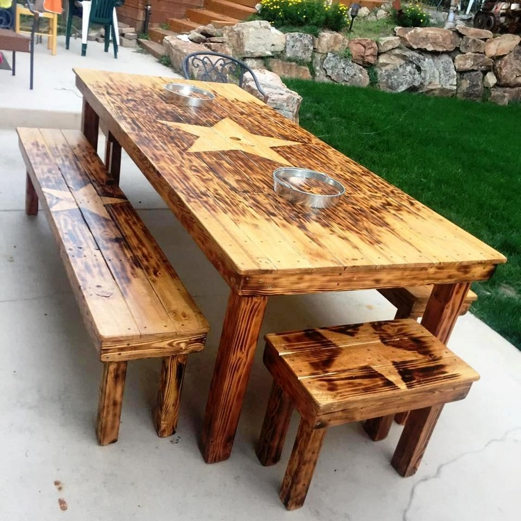Useful and Easy DIY Ideas to Repurpose Old Pallets Wood  : Large Pallet Dining Table with Matching Benches from www.recycled-things.com size 750 x 750 jpeg 221kB