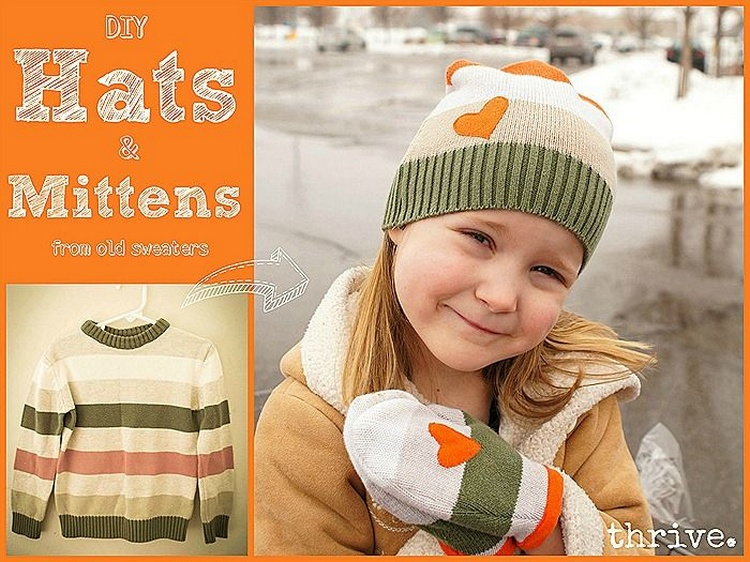 Mittens & hats from old sweaters