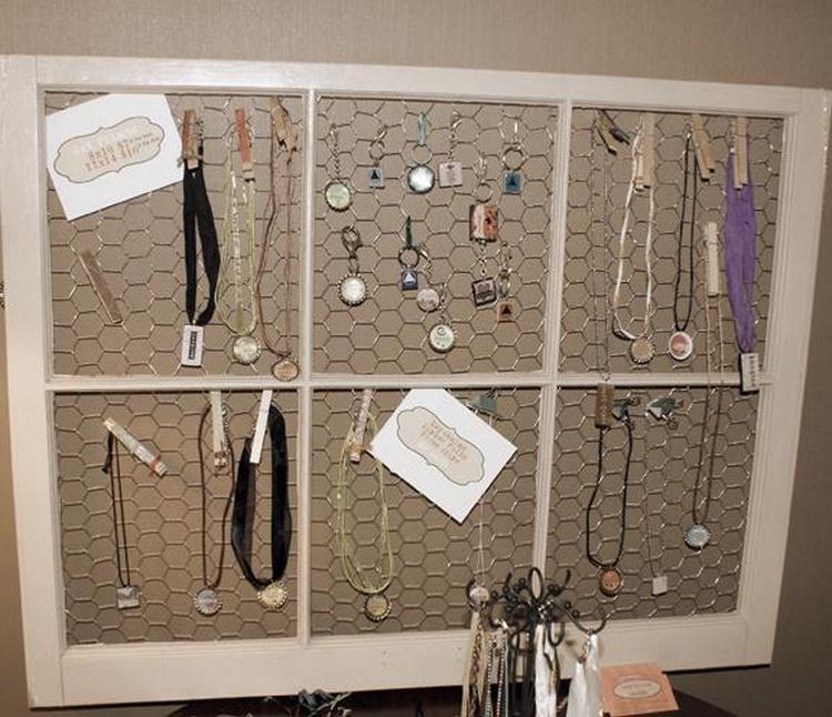 Old Window turned Jewelry Display