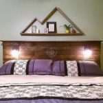 Pallet Headboard with Lights and Wall Decor