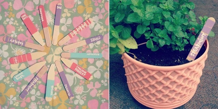 Popsicle Stick Herb Garden Labels