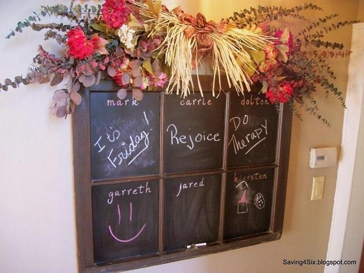 Shabby Window Turned Chalkboard