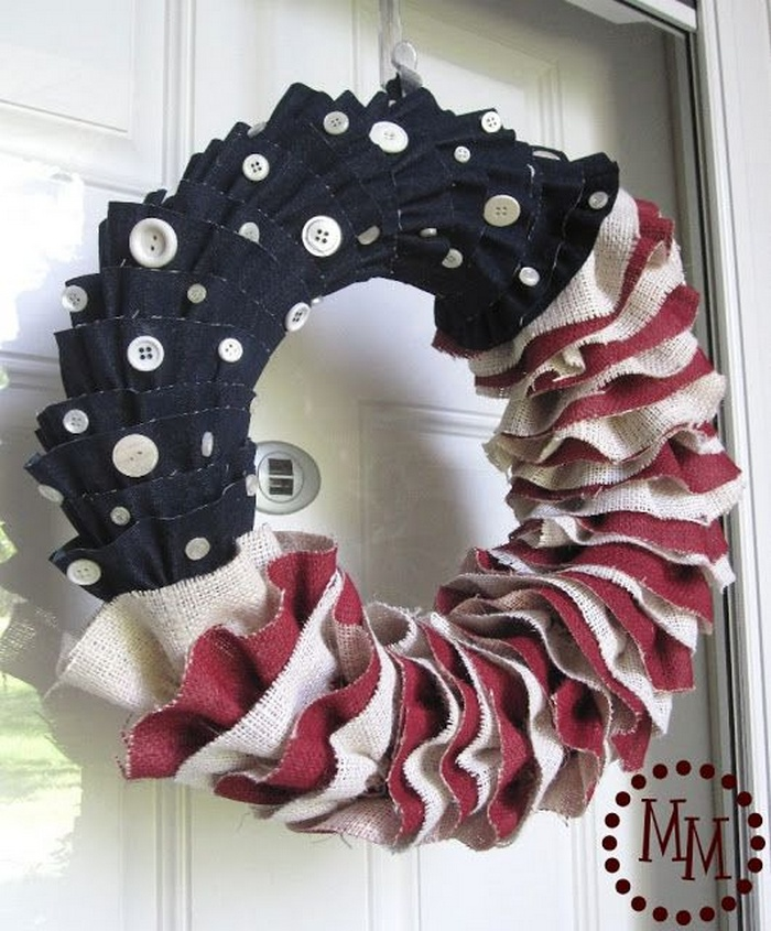 Burlap and Denim Ruffled Patriotic Wreath
