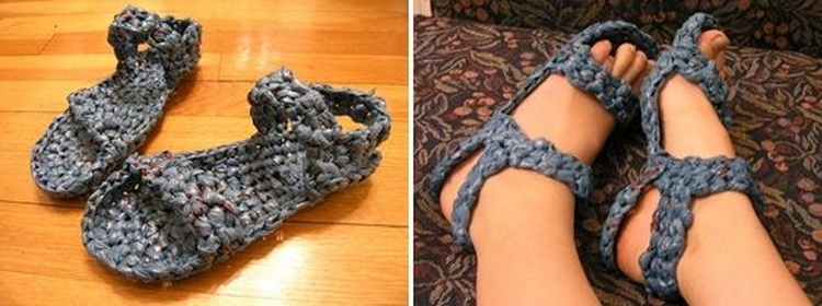 Crocheted Grocery Bag Shoes