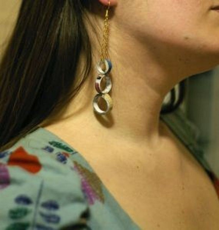 Dangly Earrings with Magazine Pages
