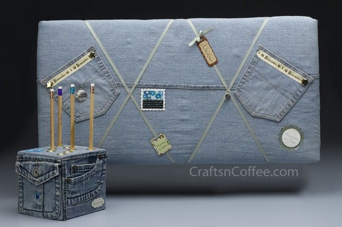 Denim Bulletin Board and Pencil Cube