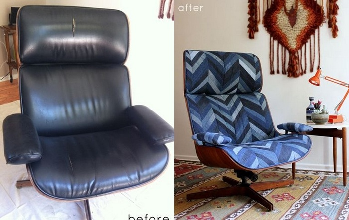Denim Chevron Patchwork Upholstery