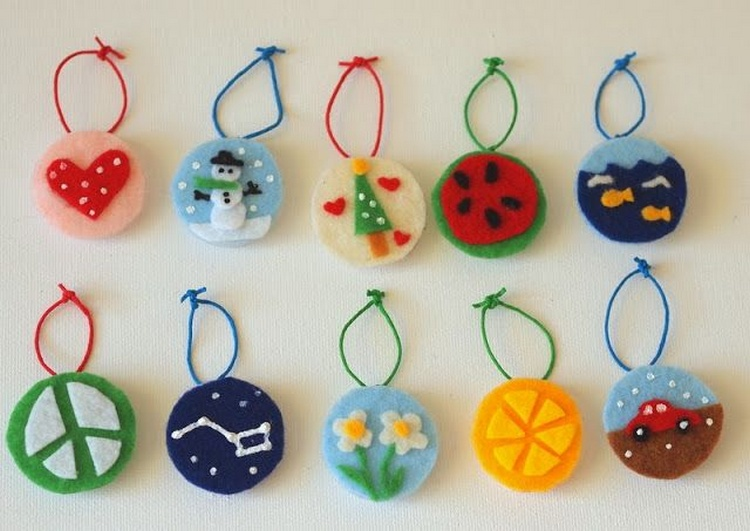 Homemade Felt Milk Jug Cap Ornaments