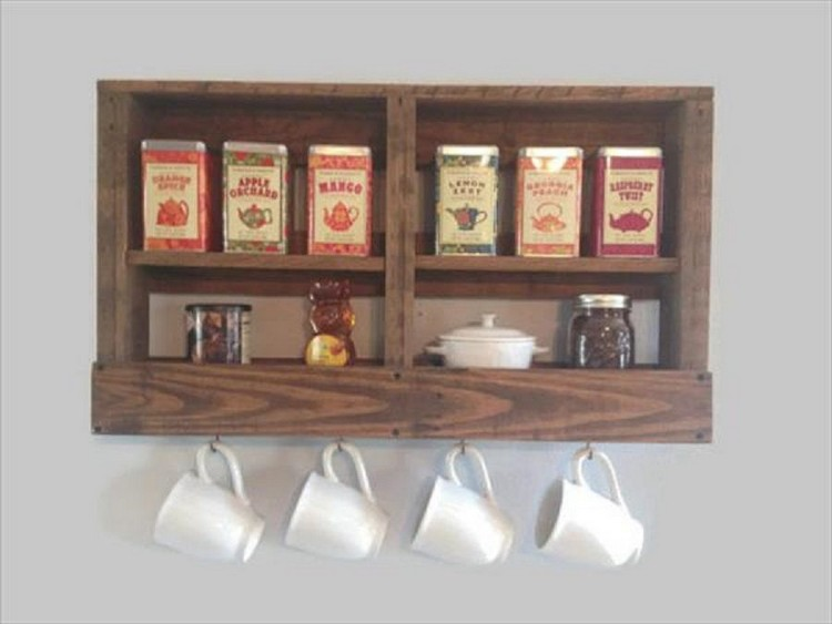 Pallet Kitchen Coffee and Tea Rack