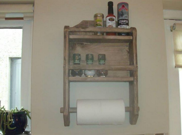 Pallet Kitchen Spice Rack and Roll Holder