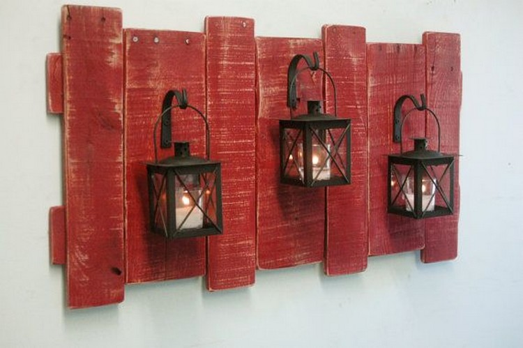 Pallet Wall Decor with Lanterns