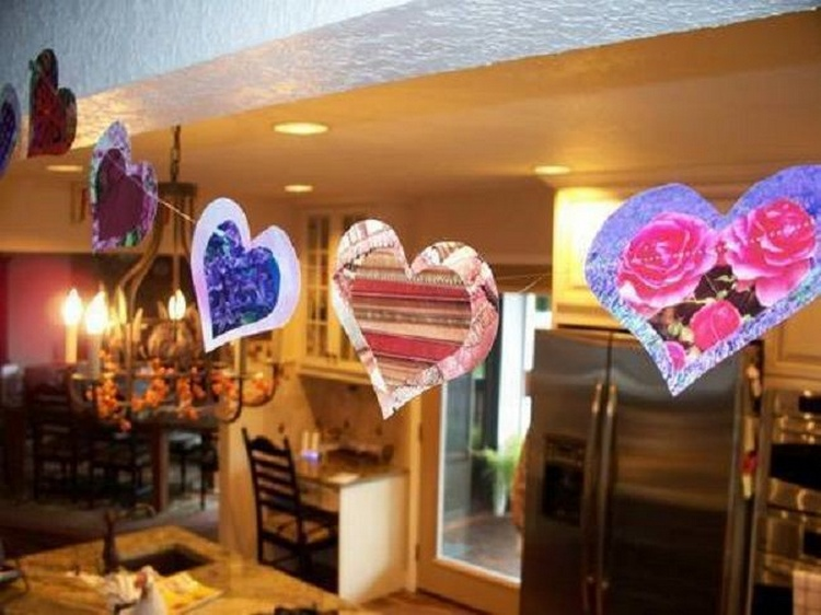 Recycled Magazine Heart Garland