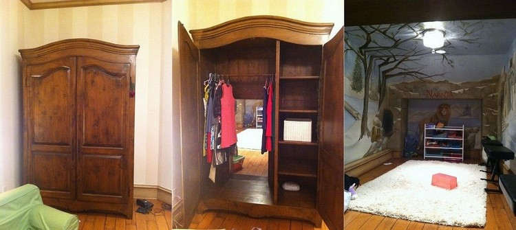 Wardrobe Passage To Hidden Narnia-Themed Playroom
