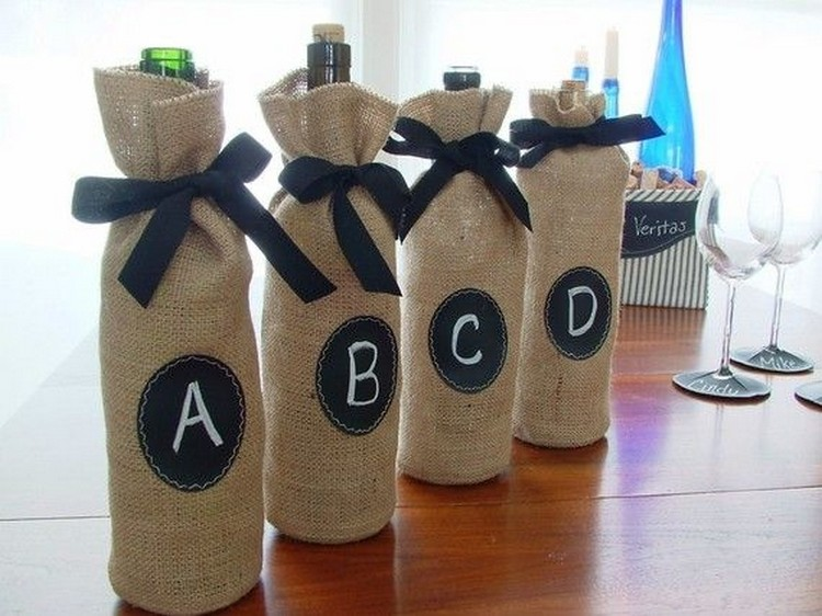 Burlap Wine Bottle Bags