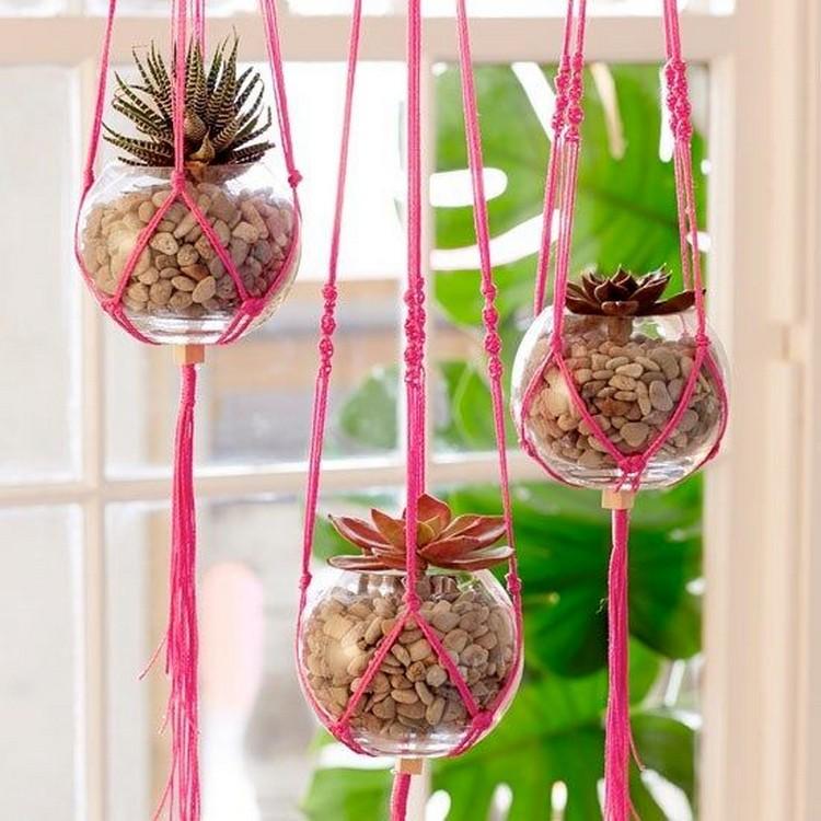 Pink Macramé Hanging Planters