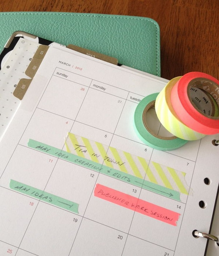 Washi Tape on Calendar