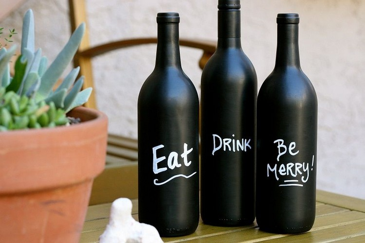 Wine Bottle Art with Chalkboard Paint