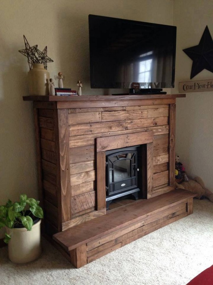 Wood Pallet Media Stand Fireplace