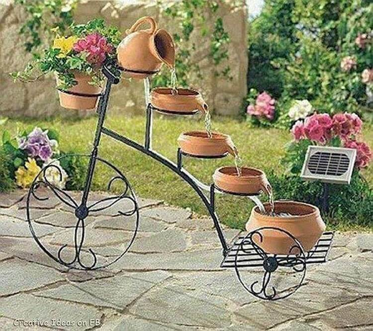 Bicycle Water Fall Garden Decorating