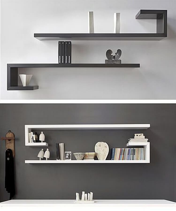 Functional and stylish wall shelf ideas recycled things for Bedroom wall shelf designs