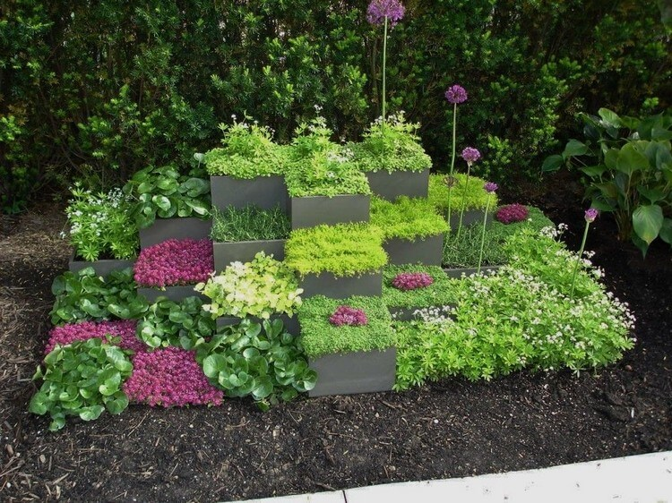 Grey Cubic Container Garden Decor Idea