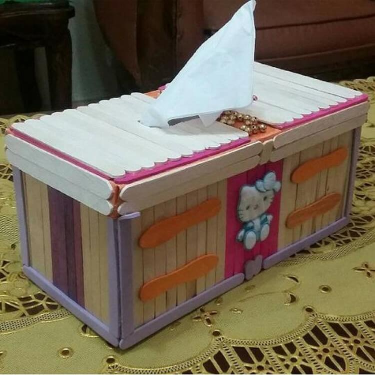 Ice Cream Sticks Tissue Box