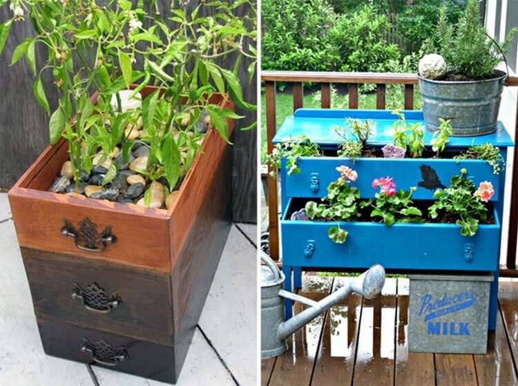 Old Dresser Drawer Planter