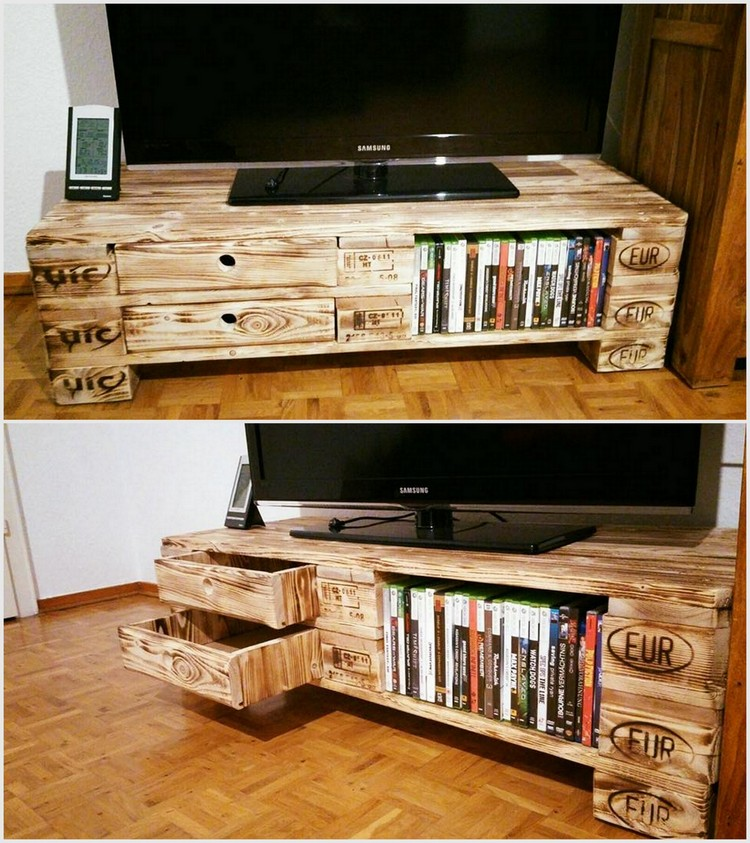 Pallet Media Table with Books Storage