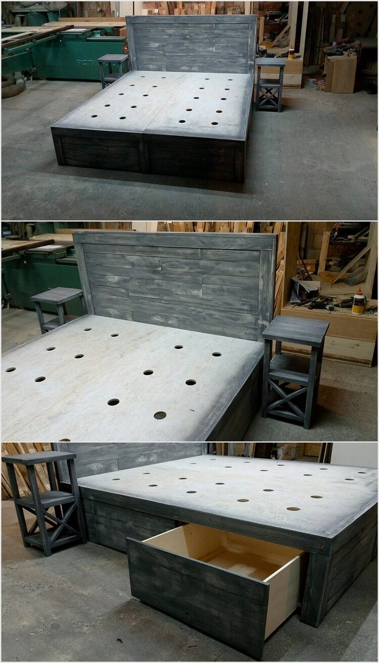 Recycled Shipping Pallet Bed with Storage