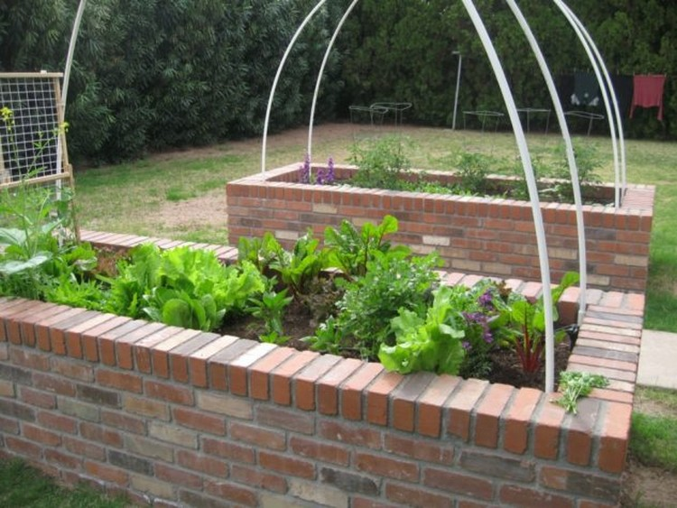 Brick Base Raised Garden Bed for Garden Decor